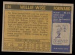 1971 Topps #194  Willie Wise  Back Thumbnail