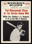 1961 Nu-Card Scoops #457   -   Ted Kluszewski  Ted Kluszewski Stars in 1st Game Win Front Thumbnail