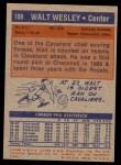 1972 Topps #109  Walt Wesley   Back Thumbnail