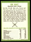 1963 Fleer #22  Jim Kaat  Back Thumbnail