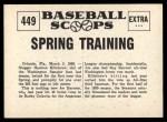 1961 Nu-Card Scoops #449   -   Harmon Killebrew  Killebrew Starts Spring Training Back Thumbnail