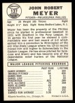 1960 Leaf #137  Jack Meyer  Back Thumbnail