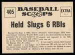 1961 Nu-Card Scoops #405   -  Woodie Held Woodie Held Slugs 2 Homers, 6 RBI's Back Thumbnail