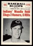 1961 Nu-Card Scoops #405   -  Woodie Held Woodie Held Slugs 2 Homers, 6 RBI's Front Thumbnail
