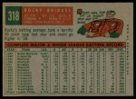 1959 Topps #318  Rocky Bridges  Back Thumbnail