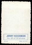 1969 Topps Deckle Edge #25  Jerry Koosman     Back Thumbnail