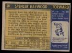 1971 Topps #20  Spencer Haywood   Back Thumbnail