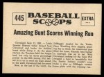 1961 Nu-Card Scoops #445   -   Phil Rizzuto  Rizzuto Two Runs Saves 1st Place Back Thumbnail