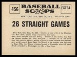 1961 Nu-Card Scoops #456   New York Giants Win 26 Straight Games Back Thumbnail