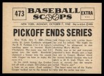 1961 Nu-Card Scoops #473   -   Marty Marion  Pickoff Ends Series Back Thumbnail