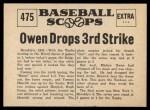 1961 Nu-Card Scoops #475   -   Mickey Owen  Owen Drops Third Strike Back Thumbnail