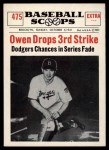 1961 Nu-Card Scoops #475   -   Mickey Owen  Owen Drops Third Strike Front Thumbnail