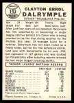 1960 Leaf #143  Clay Dalrymple  Back Thumbnail