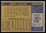 1971 Topps #81  Jerry Lucas   Back Thumbnail