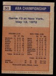 1972 Topps #243   ABA Championship Game #3 Back Thumbnail