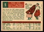 1959 Topps #9  Paul Giel  Back Thumbnail