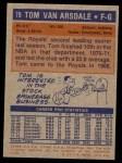 1972 Topps #79  Tom Van Arsdale   Back Thumbnail