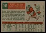 1959 Topps #196  Billy Moran  Back Thumbnail