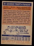 1972 Topps #38  George Trapp   Back Thumbnail