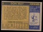 1971 Topps #6  Don May   Back Thumbnail