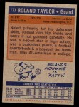 1972 Topps #177  Roland Taylor   Back Thumbnail