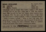 1952 Bowman Small #35  Brad Whitie Ecklund  Back Thumbnail