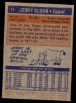 1972 Topps #11  Jerry Sloan   Back Thumbnail