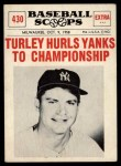 1961 Nu-Card Scoops #430   -  Bob Turley Bob Turley Hurls Yanks to Championship Front Thumbnail