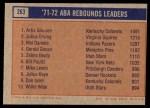 1972 Topps #260   -  Artis Gilmore / Tom Washington / Larry Jones  ABA 2-Pt Field Goal Pct Leaders Back Thumbnail