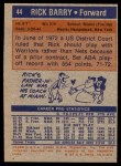 1972 Topps #44  Rick Barry   Back Thumbnail