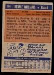 1972 Topps #186  Bernie Williams   Back Thumbnail