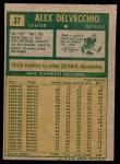 1971 Topps #37  Alex Delvecchio  Back Thumbnail