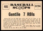 1961 Nu-Card Scoops #401   -  Jim Gentile Gentile Powers Birds into 1st Back Thumbnail