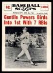 1961 Nu-Card Scoops #401   -  Jim Gentile Gentile Powers Birds into 1st Front Thumbnail