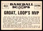 1961 Nu-Card Scoops #413   -   Dick Groat  Groat, NL Bat King, Named Loop's MVP Back Thumbnail