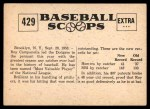 1961 Nu-Card Scoops #429   -   Roy Campanella  Campy National League's MVP Back Thumbnail