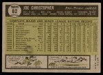 1961 Topps #82  Joe Christopher  Back Thumbnail