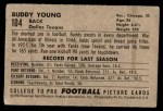 1952 Bowman Small #104  Buddy Young  Back Thumbnail