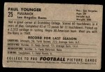 1952 Bowman Small #25  Tank Younger  Back Thumbnail