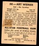 1948 Leaf #58  Art Weiner  Back Thumbnail