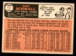 1966 Topps #144  Don Schwall  Back Thumbnail
