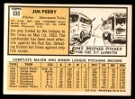 1963 Topps #535  Jim Perry  Back Thumbnail