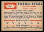 1960 Fleer #4  Carl Hubbell  Back Thumbnail