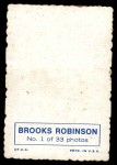 1969 Topps Deckle Edge #1  Brooks Robinson  Back Thumbnail