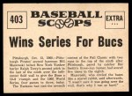 1961 Nu-Card Scoops #403   -   Bill Mazeroski  Mazeroski Homer Wins Series for Bucs Back Thumbnail