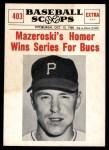 1961 Nu-Card Scoops #403   -   Bill Mazeroski  Mazeroski Homer Wins Series for Bucs Front Thumbnail