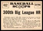 1961 Nu-Card Scoops #412   -  Eddie Mathews Eddie Mathews Blasts 300th Big League HR Back Thumbnail