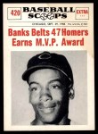 1961 Nu-Card Scoops #420   -   Ernie Banks  Banks Belts 47 Homers, Earns MVP Honors Front Thumbnail