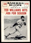1961 Nu-Card Scoops #439   -   Ted Williams Ted Williams Hits .406 for Season Front Thumbnail