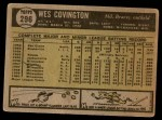 1961 Topps #296  Wes Covington  Back Thumbnail
